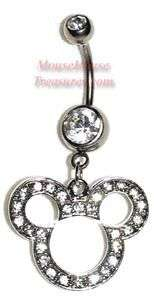 DISNEY MICKEY CLEAR MULTI STONE HEAD DANGLE BELLY RING