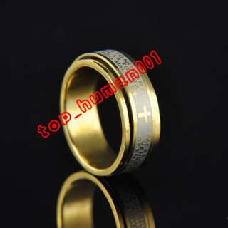 Mixed Lots 50pcs stainless steel Rotation cross bible rings