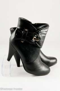 Women Fashion Faux Leather Metal Buckle Strap High Heels Ankle Boots