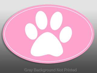 Oval Pink Paw Print Sticker   dog decal girls paws dogs