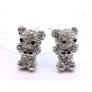 Teddy Bear Cute Kawaii Mini Bear Crystal Earrings