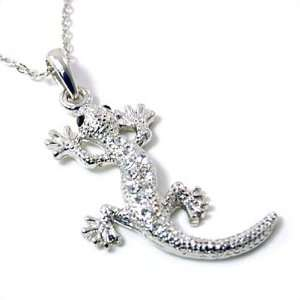 Silvertone Crystal Lizard Pendant Necklace Fashion Jewelry Jewelry