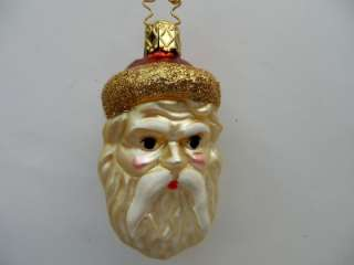 INGE SANTA CLAUS GERMAN GLASS CHRISTMAS ORNAMENT RED GOLD