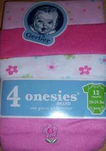 New Girls Gerber 4 Pack Onesies, 0 3, 3 9, 12, 18 or 24 months, Baby