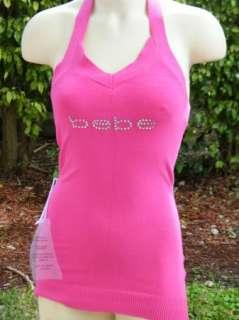 BEBE crystals t shirt ribbed logo tube top PINK SWEATER TANK M 175576