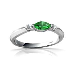 14K White Gold Marquise Created Emerald Ring Size 8 Jewelry