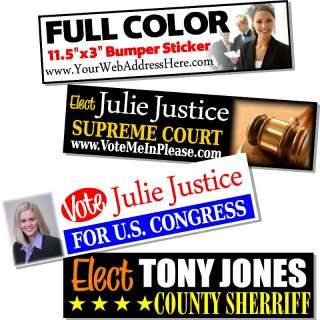 500 Custom Printed Election Campaign Bumper Stickers