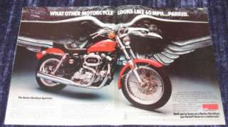 1977 Harley Davidson Sportster XLCH Motorcycle Original Color Ad