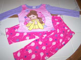 Nwt New Disney Princess Belle Pajamas Fleece 2Pc Pink 4