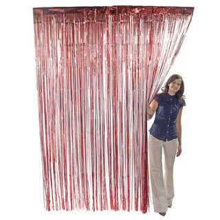 Red Metallic Fringe Door Curtain Party Decor 3 x 8