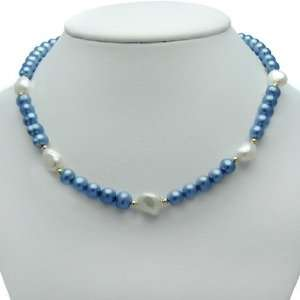 14KY 7 8mm Sky Blue and 10 11mm White Freshwater Pearl Necklace 18