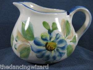 Hand Painted Pitcher Portugal Blue Floral Art Pottery