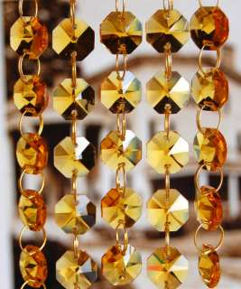 feet x AMBER CRYSTAL OCTAGON CHANDELIER PRISMS CHAINS