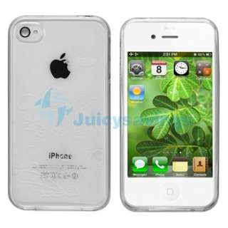 Clear Flower Skin CASE+PRIVACY FILTER+Car+Wall Charger for iPhone 4 4S