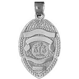 POLICE BADGE charm .925 sterling silver #22