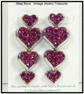 GLITZY Rhinestone Red Multi Purple Pink HEART Chandelier Earrings