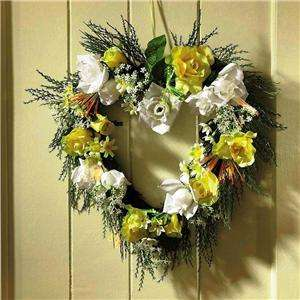 Yellow And White Roses Spring Flowers Heart Shaped Wreath