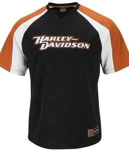 Harley Davidson Script Mens Polyester Black V Neck Mesh T Shirt