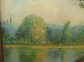 Jerome Antique Landscape Oil Painting Lake Boats