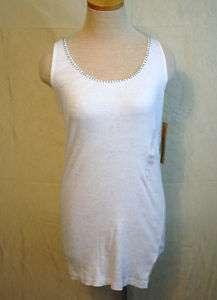 DKNY Womens Foil Printed White Tank Top Size XS