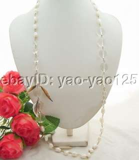 Beautiful 36 White Pearl&Crystal&Shell Necklace