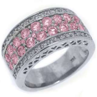 WOMENS PINK SAPPHIRE DIAMOND RING WEDDING BAND 2.76 CARAT ROUND CUT