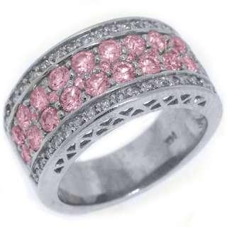 WOMENS PINK SAPPHIRE DIAMOND RING WEDDING BAND 2.76 CARAT ROUND CUT