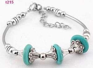 blue Tibetan silver tube bead turquoise bracelet t215