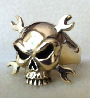 BRONZE SKULL & CROSSED WRENCHES RING   OUTLAW BIKER 1%ER MILITARY