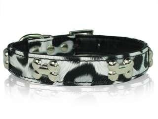 11 Black&White Leather Bones Dog collar Small XS