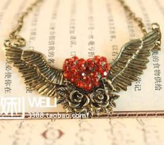 Angel Wing Crystal Heart Valentines Necklace Pendant N332
