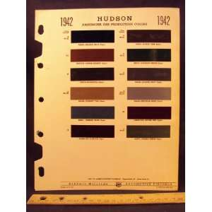 1942 HUDSON Paint Colors Chip Page Hudson Motor Car