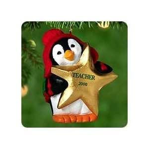 Keepsake Christmas Ornament ; Gold Star Teacher Penguin 2000 QX6951