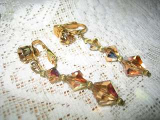 Vtg Champagne Aurora Borealis Crystal Dangling Earrings