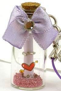 Message In The Bottle Cellphone Charm Strap Purple