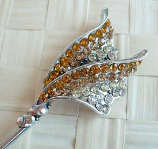 VARY COLORS SWAROVSKI CRYSTAL WINGS HAIR STICK PIN PICK 628