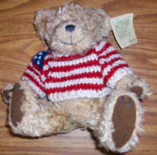 STUFFED TEDDY BEAR tan FLAG SWEATER GIBSON toy boy gir
