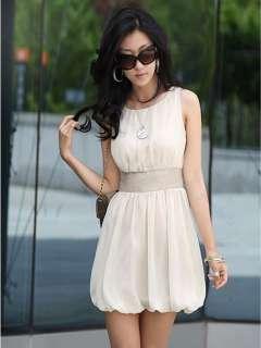 Korea Women Scoop Neck Mini Dress Empire Waist Chiffon Lined Tunic W