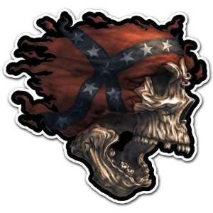 Rebel Skull Confederate Flag Car Bumper Sticker Decal 4x3