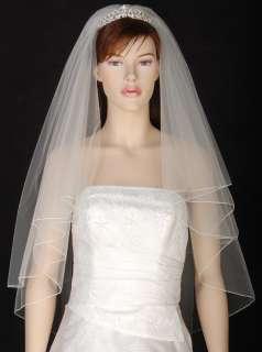2T White / Ivory Wedding Bridal Veil Fingertip Tiara j