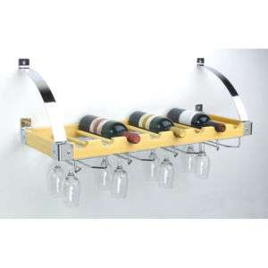 Wine Bottle & Glass Ceiling & Wall Rack Natural Finish 845033066469