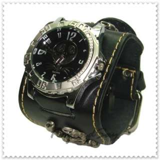 K015 Black Leather Wristband Watch Cuff Bracelet New