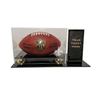 New Orleans Saints Deluxe Football Display with Ticket Holder (Up to 2