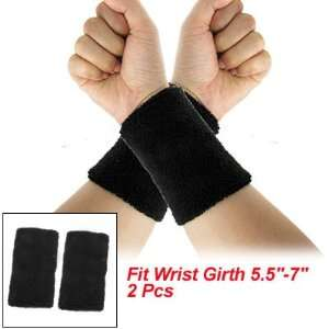 Como Black Elastic Terry Wrist Sweatband Sports Support