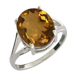 4.30 Ct Oval Whiskey Quartz Sterling Silver Ring Jewelry