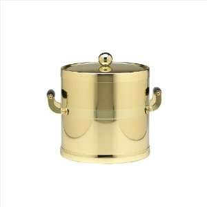 Shiny Brass 3 Quart Ice Bucket With Wood Side Handles, Bands And Metal