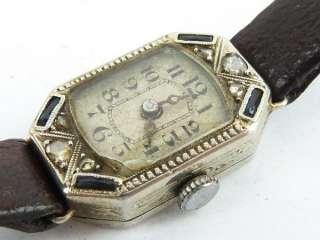 Vintage 18k solid white gold sapphire & diamond ladies watch Restore