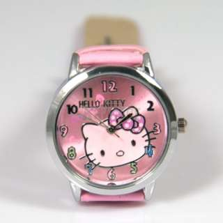 Pink Cute Lovely Alloy Colorful Bowknot Quartz Hellokitty Kid Girls