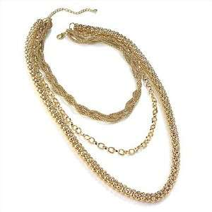 Chic Gold Tone Multi Strand Chain Necklace   64cm Length
