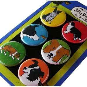 Border Collie Silly Dog Magnet Set of 6: Office Products